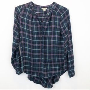 Lucky Brand blue plaid flannel popover top
